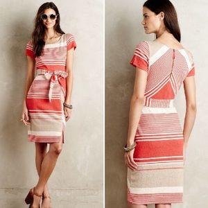 Anthropolgie Lilka Sorella Orange Striped Dress